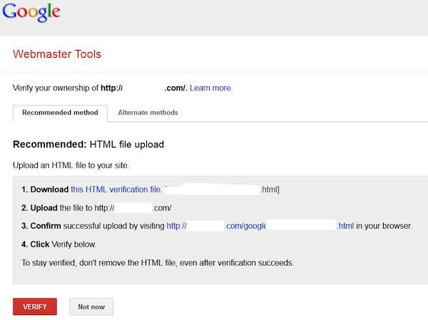 گوگل وبمستر تولز تایید مشخصات