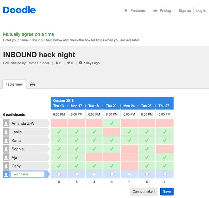ابزار برنامه ریزی جلسات «Doodle»